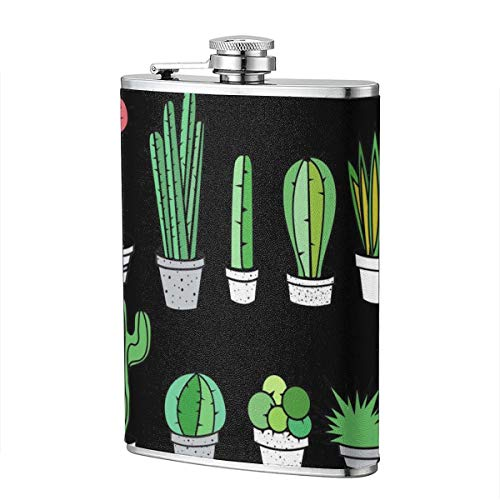 Prickly Pear And Cactus (2) 8 Oz Portable Stainless Steel Liquor Bottle Pocket Flagon For Wine Alcohol Pocket Flagon Whiskey Container - Pear Brandy Bottle