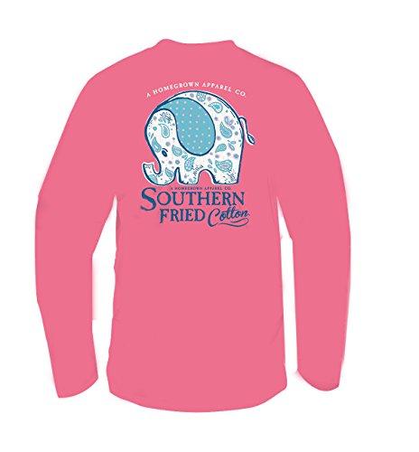 Ultimate Cotton Garment (Southern Fried Cotton Ellie Adult Long Sleeve T-Shirt-Pink Jam-Medium)