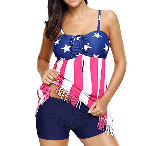 - Bsjmlxg Women Vintage USA Flag Print Tassels Strap Striped Beach Swimwear Swimsuit Tankini Bikini Blue