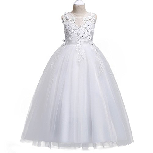 HUANQIUE Girl Embroidery Pageant Party Dress Kids Prom