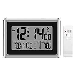 Glisteny Digital Atomic Wall Clock, Indoor Outdoor Thermometer with Wireless Sensor Temperature Monitor for 300ft/100meter Range, Large LCD Display, Calendar, Table Standing, Snooze Without Back Light