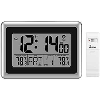 Amazon Com Sharp Digital Atomic Wall Clock Gray Home