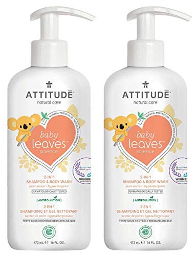 (ATTITUDE Baby Leaves 2-in-1 Natural Shampoo and Body Wash Pear Nectar (Pack of 2) With Blueberry Leaf Extract, Moringa Oleifera, Guar and Sweet Fruit, 16 fl. oz. each)