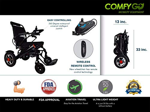 2019 ComfyGO Fold'n Go Remote Control Ultra Lightweight Electric Power Wheelchair FDA Approved and Air Travel Allowed, Heavy Duty, Mobility Motorized, Portable Power (Black)
