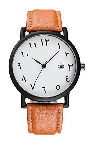 BAOSAILI Arab Numbers Scales Men Watch Black Leather Watch with Calender (Brown) (Arabic Watch)