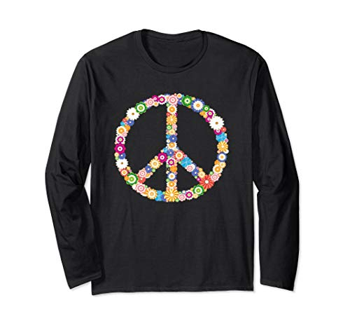 Hippie Peace Sign T-shirt Flower Vintage Hippy Symbol Tee]()