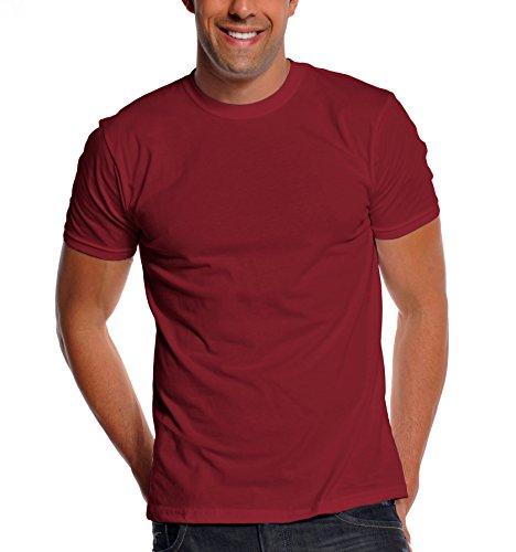 Burgundy Designer - Pro Club Men's Premium Lightweight Ringspun Cotton Short Sleeve T-Shirt, Burgundy, Large