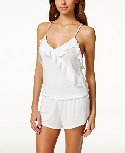 Betsey Johnson Womens Printed Knit Romper White L (Betsey Johnson Camisole)