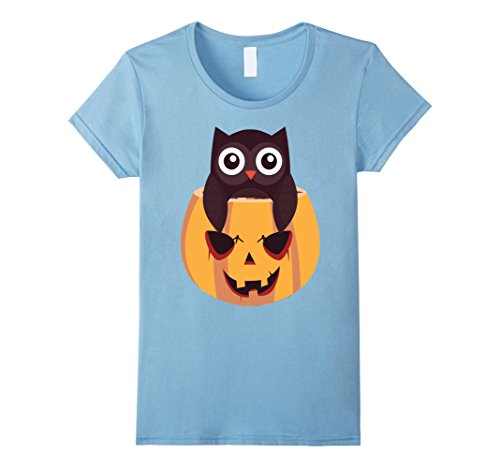 Womens Owl In a Jack O Lantern Scary Halloween T-shirt Large Baby (Baby Owl Halloween Costumes 2017)