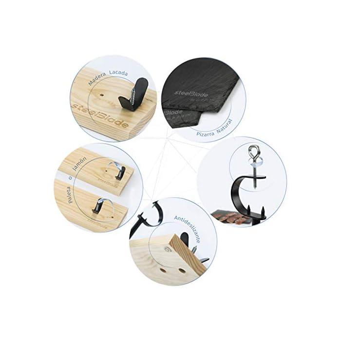 41Xj9ZD6zCL ?【¿BUSCAS UN JAMONERO DURADERO?】Soporte para jamon que equilibra calidad y precio. Tabla jamonero muy duradera al estar fabricada en hierro con recubrimiento epoxi (evita la oxidación) y madera lacada que aumenta su durabilidad, mantenimiento y limpieza. ? 【IDEAL PARA REGALO】 Incluye 2 Platos de Pizarra Natural de 26.50 cm x 16.50 cm. Elegantes y de buen tamaño. Ideales para presentar el jamón cortado en finas lonchas. Este kit jamonero es enviado en una cuidada caja diseñada por steelBlade. Regalo ideal para tu pareja, familiares, amigos y para todos aquellos con los que te gustaría compartir un buen jamón. ? 【FABRICADO en ESPAÑA】Somos fabricantes de jamoneras y utensilios de cocina. Todos nuestros jamoneros son de fabricación propia (Castilla La Mancha), lo cual nos permite ofrecer jamoneros baratos de alta calidad. Campeones del Mundo de corte de jamón confían desde hace años en nuestras tablas para jamon y accesorios para jamoneros profesionales.
