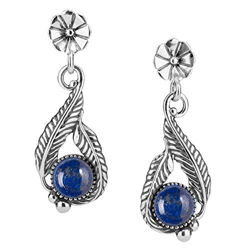 American West Sterling Silver Blue Lapis Flower Leaf Earrings