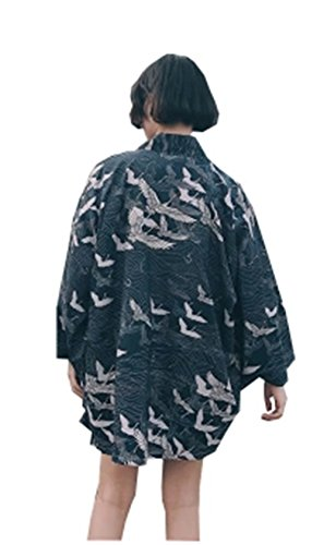 [イダク] レディース 花柄プリント きれい Vネック 青春 少女気 夏祭り お風呂 肌触り 涼しい バスローブ 着物 浴衣