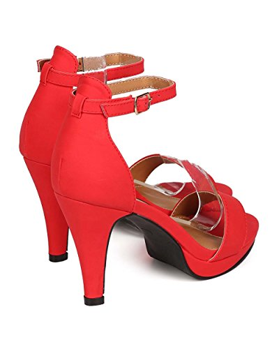 DbDk EH88 Women Leatherette Ankle Strap Single Band Platform Sandal - Red tj7slGn
