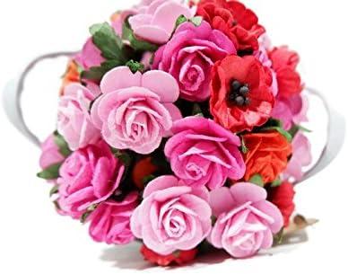 (N.20) 50個 ピンク&レッド 5色 バラ ブロッサム & 桜 マルベリーペーパーフラワー 20-30 mm スクラップブック ウェディング