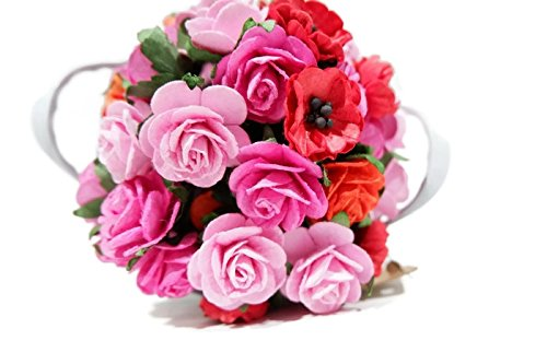 (N.20) 50 pcs Mixed Pink & Red 5 Colors Rose, Blossoms & Sakura Mulberry Paper Flower 20-30 mm Scrapbooking Wedding