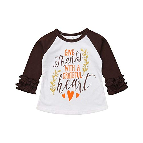 Thermal Tee Heart - Thanksgiving Day Toddler Kids Baby Girls Give Thanks with Grateful Heart Letter Print T-Shirt Christmas Tee Shirt