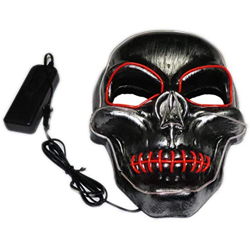 Baynne LED Light up Mask Festival Parties Frightening Wire Halloween Sound Induction Flash -
