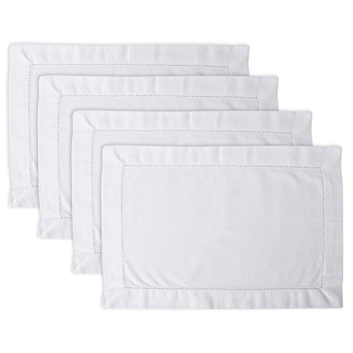 DII Hemstitch Placemat, Set of 4, Off White - Perfect for Dinner Parties, Weddings, Catering and Everyday Use