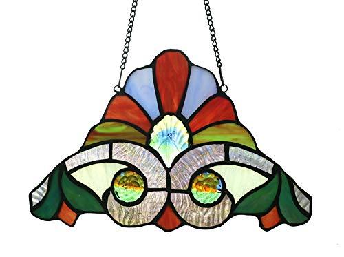 Santa Glass Hat Ornament (Alivagar Stained Glass Window Hanging Sun Catcher Christmas Hat Ornament Santa Claus Hat, 10