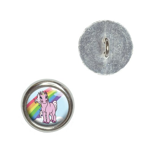 Pink Unicorn on Cloud - Rainbow Pony Metal Craft Sewing Novelty Buttons - Set of 4