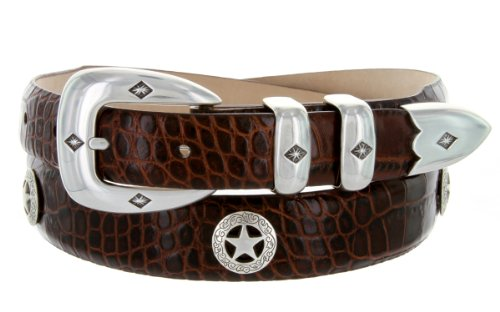 Presidential Silver Star Western Golf Concho Italian Calfskin Leather Dress Belt (38 Alligator Brown)