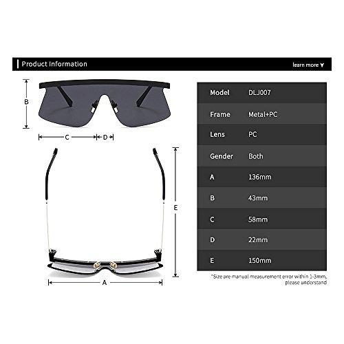 surdimensionné hommes cadre de pour designer nouveauté Style plein One les lunettes C6 nuances Élégant pour vacances la air la été en conduite femmes soleil piece brillants sans plage protection UV waIzq75