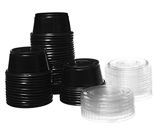 Crystalware, Disposable 1.5oz. Plastic Portion Cups with Lids, Condiment Cup, Jello Shot, Souffl� Portion, Sampling Cup, 100 Sets ? Black Cups with Clear Lids