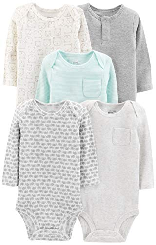 (Simple Joys by Carter's Baby 5-Pack Neutral Long-Sleeve Bodysuit, Grey/Blue Stripe, Preemie)