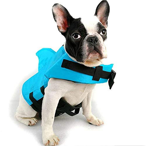 LIULINCUN Dogs Swimwear Pets Safety Swimming Suit Dog Life Vest Summer Shark Pet Life Jacket for Small Medium Large Dog Safety Clothes,Blue,XXL]()