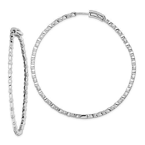 925 Sterling Silver Diamond Hoop Earrings Ear Hoops Set Fine Jewelry For Women Gift Set ()