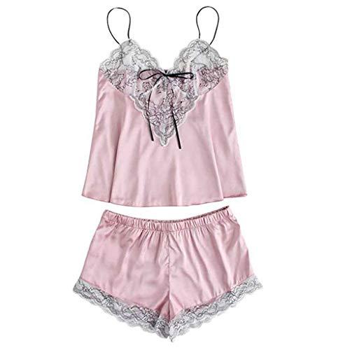 New Fashion Fashion Girls Cute Lace Embroidered Silk Underwear And Shorts Pajama Set Lace Sexy Pijama Mujer Femme Pajamas Shorts Sleepwear ()