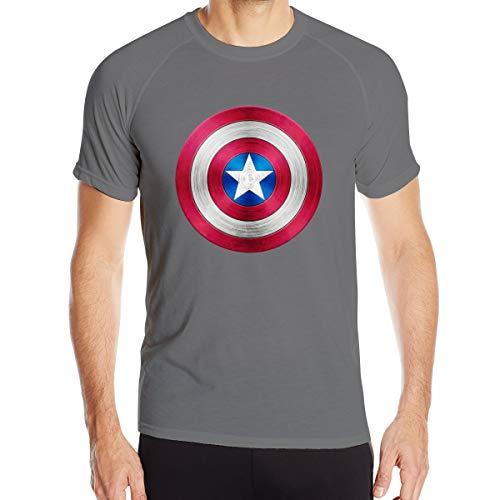 LianLiYa Men's Cap-Tain Am-eri-ca Shield Short Sleeve Quick-Dry Gym Top Tee Deep Heather