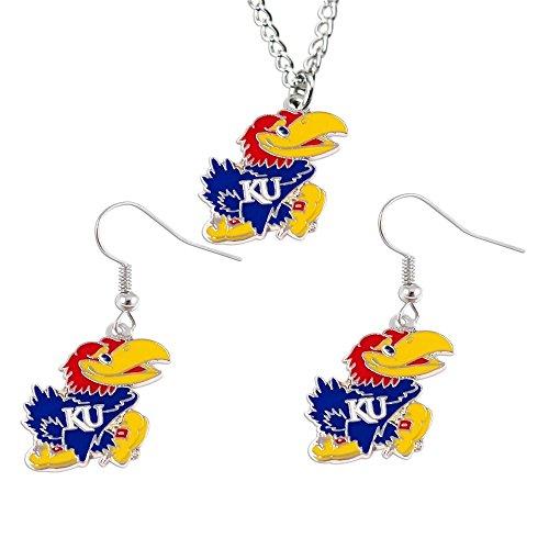 aminco NCAA Kansas Jayhawks Unisex InternationalNCAA Logo Dangle Earrings and Pendant Necklace Set, Team Color, CCP-SE-203-25