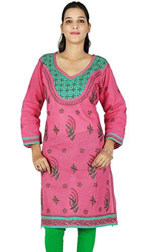 Diseñador indio Chikan regalo de las mujeres vestido étnico Kurti Casual Túnica bordada para ella Rosa y Olive Green