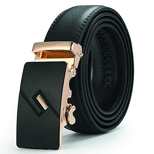 Men's Genuine Leather Ratchet Dress Belt, Automatic Buckle Buckle-blackd 115×3.5cm(45×1.5inch) 0.375' Drive Rotator Ratchet