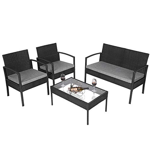 - Cypress Shop Wicker Furniture Set Outdoor Indoor Rattan Sofa Soft Cushioned Seating Chair Armchairs Coffee Table Tempered Glass Top Single Two Seats Wicker Chair Deck Patio Garden Furniture Set of 4