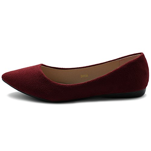 Women's Multi Suede Light Burgundy Ballet Flat Color Shoe Faux Ollio Comfort dP6dq