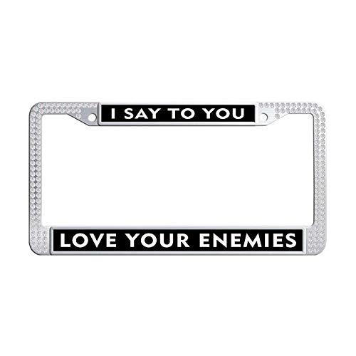 Nuoousol Jesus Christ Quotes,Bible Verses White Shining Crystal License Frame tag, Trust in God,Trust Also in Me Diamond Car License Plate Holder with 2 Holes Screws Caps Set(6' x 12' in)