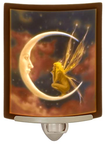(Fairy Moon - Porcelain Lithophane Curved Color Night Light - David Delamare Art)