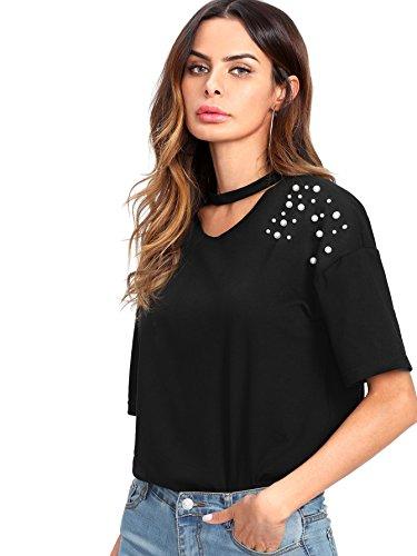 Verdusa Womens Summer Short Sleeve Tops Loose Choker Neck Tee Shirt