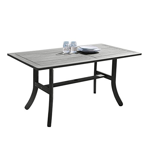 Rectangle Outdoor Dining Table - Vifah V1300 Renaissance Outdoor Hand-Scraped Hardwood Rectangular Table