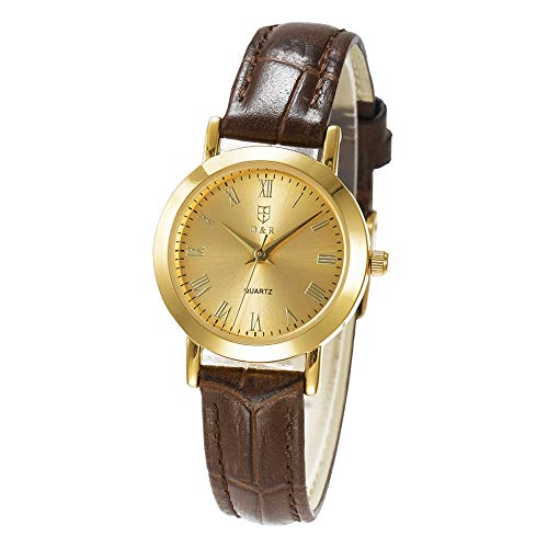 - Men Women Quartz Watch Lady Japan Movement Wristwatch Leather Strap Waterproof Wrist Watch Roman Numerals (Women Golden Dial Brown Strap)
