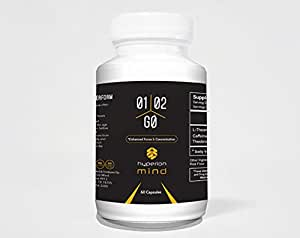 1-2-Go Nootropic Stack - Caffeine and L-Theanine, Brain Supplement for Concentration & Motivation with No Jitters - Hyperion Mind - 60 Day Supply - MONEY BACK GUARANTEE