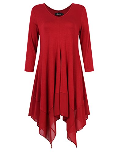AMZ PLUS Womens Plus Size Irregular Hem Long Sleeve Loose Shirt Dress Top Burgundy 3XL