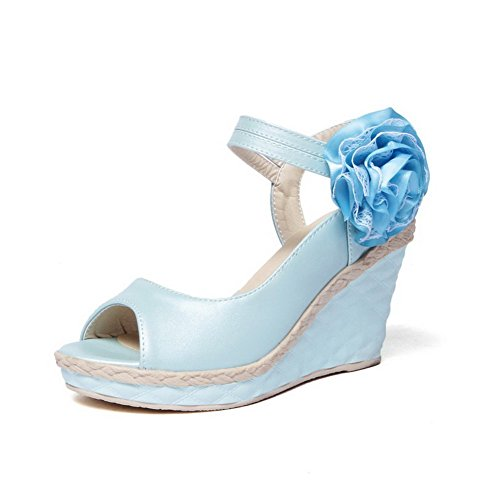 AllhqFashion Mujeres Velcro Puntera Abierta Plataforma Cuero Sólido Sandalia Azul
