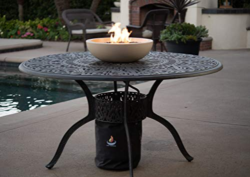 A Fire Pit for Your Patio Table.  Landscape Quality Tabletop Fire Bowl Made of Concrete with 50,000 BTU Stainless Steel Burner.  Runs on Propane. (Pit Fire Table Indoor)
