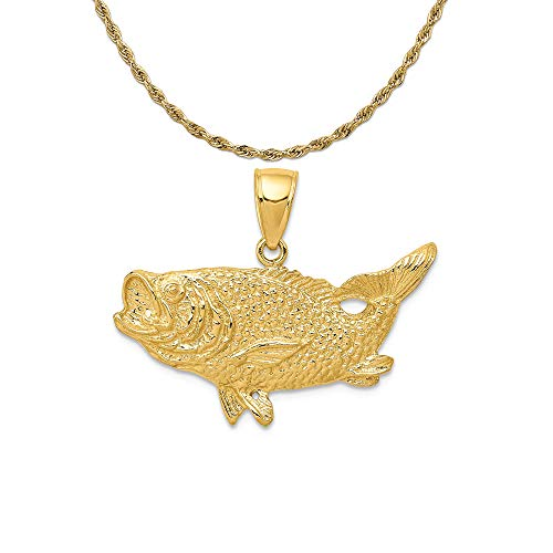 Mireval 14k Yellow Gold Polished Open-Backed Bass Fish Pendant on 14K Yellow Gold Rope Chain Necklace, 20