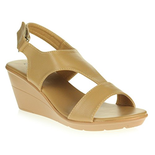 AARZ LONDON Frau Damen Sommer Offener Zeh Beiläufig Komfort Leicht Slingback Keilabsatz Sandalen Schuhe Größe Kamel