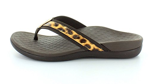 VIONIC Womens IN44 Islander Leather Sandals Marrón leopardo