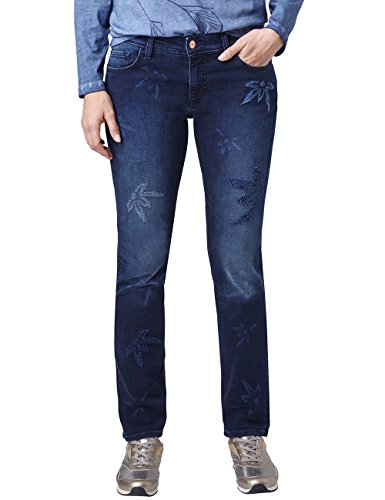 Pioneer Karen Donna Damages Slim 908 Laser blue Used Jeans Blu With Dark rrdUfq